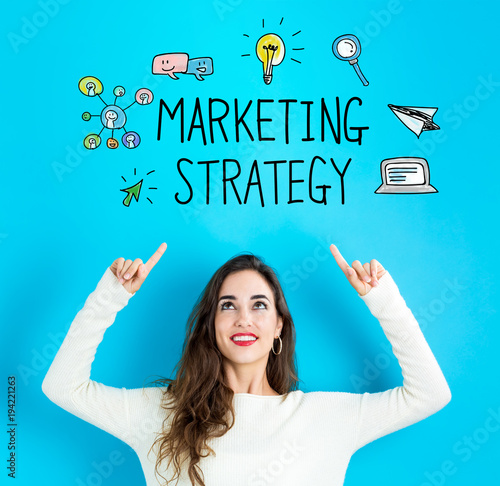 Marketing Strategy with young woman reaching and looking upwards