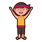 funny cartoon chinese man standing arms up vector illustration  - 194229288