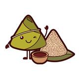 kawaii rice dumpling with sauce cartoon vector illustration - 194230207