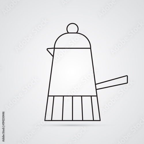 Carved silhouette flat icon, simple vector design  Coffee maker