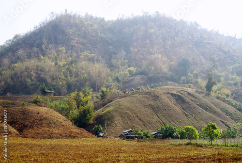 Aluminium Bleke violet landscape, mountain, mountains, nature, sky, clouds, green, panorama, valley, tree, hill, forest, summer, blue, grass, hills, countryside, trees, travel, tourism, meadow, autumn, view, cloud, fog