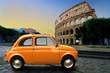 Quadro Retro car on background of Colosseum in Rome Italy