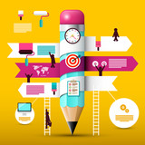 Big Pencil with Paper Infographic Elements. Creative Web Design Vector Infographics Project.