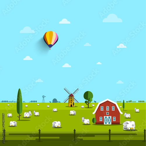 Aluminium Boerderij Farm with Cows on Field. Vector Rural Scene.