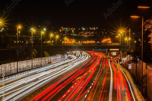 Tuinposter Nacht snelweg Autopista nocturna