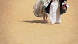 Bride and groom walking in the desert - 194241442