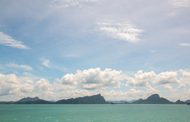 Travel with ferry boat to Koh Samui island, seascape, Thailand