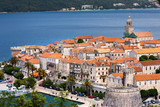 Seaside  view of Korcula town, Croatia, Korcula island. - 194246854