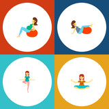 Icon flat pregnancy set of yoga, lady, fitness and other vector objects. Also includes pregnant, woman, fitness elements. - 194251289