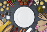 Food and cooking concept. Organic Ingredients, plate top view and copy space. - 194251695