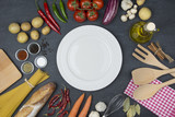 Food and cooking concept. Organic Ingredients, plate top view and copy space. - 194252448