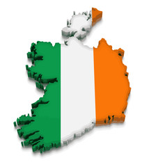 Map of Ireland. 3d render Image. Image with clipping path
