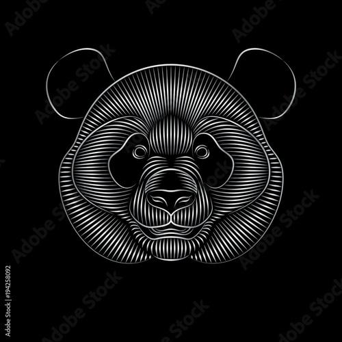 Fototapeta Graphic print of stylized silver panda on black background. Linear drawing.
