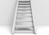3d rendering. White Up stairs with light gray copy space wall as background. the success way in bussiness concept.