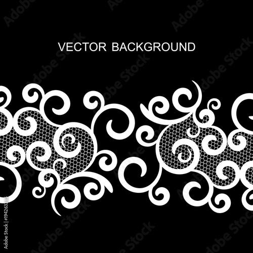 tło wektor z koronki, czarno-biały