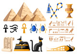 Ancient Egyptian symbols and decoration Egypt flat icons vector illustration on white background web site page and mobile app design - 194263499