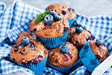 Fresh homemade delicious blueberry muffins - 194263656