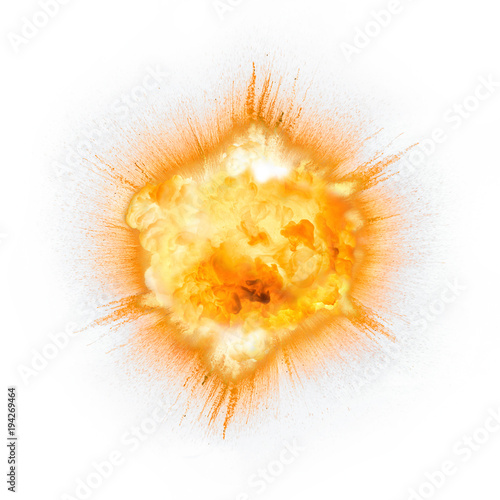 Realistic fiery explosion with sparks over a white background © michalz86