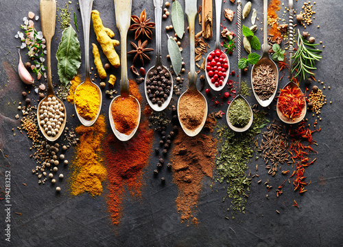 Spices on black board © Dionisvera