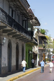 Tourist attractions and destination scenics. View of street of Casco Antiguo, Panama City