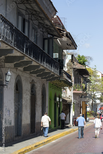 Fotobehang Smalle straatjes Tourist attractions and destination scenics. View of street of Casco Antiguo, Panama City