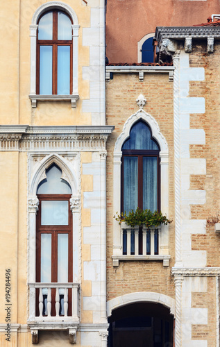 View of old window in historical buildings in Venice - 194284496