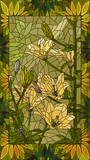 Vector illustration flowers of yellow lilies.