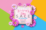 Womens day sale background design with beautiful colorful flower. Vector floral design template for coupon, banner, voucher or promotional poster. - 194290624
