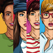 Fashion womens pop art cartoon vector illustration graphic design