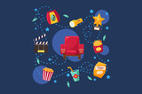 Cinema or movie set, scene, film industry, cinematography concept vector Illustration on a blue background - 194293246