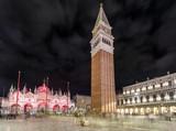 Saint Mark's campanile at night in Venice