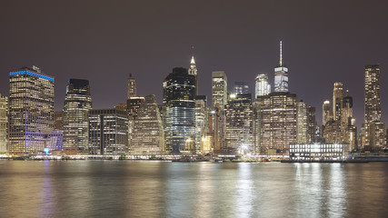 Manhattan skyline at night, New York City, USA