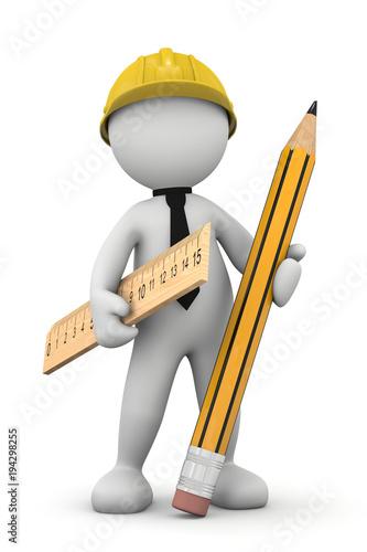 omino 3d geometra con riga e matita