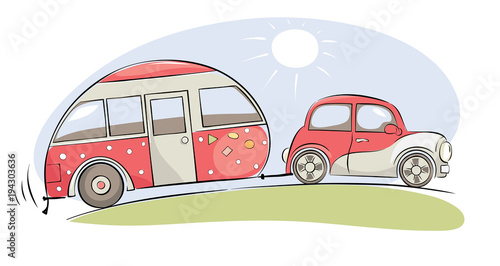 Plexiglas Auto Summer travel in a house on wheels / Funny pink retro car with camping ride on a trip, vector illustration