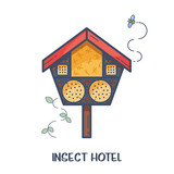 Insect hotel - decorated wood house with compartments and natural components. Home for garden useful pests like ladybugs, bees, butterflies, spiders. Vector illustration, flat style isolated on white - 194304872