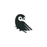 owl logo vector graphic minimalist outline art - 194305003