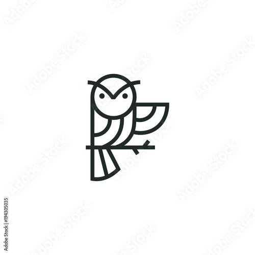 Aluminium Uilen cartoon owl logo vector graphic minimalist outline art