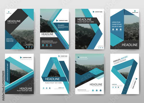 Blue report annual collection Vector business proposal Leaflet Brochure Flyer template design, book cover layout design, abstract business presentation template, a4 size design