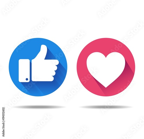 Thumbs up and heart icon on a white background, social media icon, empathetic emoji reactions