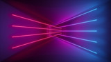 Fototapety 3d rendering, glowing lines, neon lights, abstract psychedelic background, ultraviolet, pink blue vibrant colors