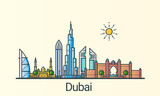 Banner of Dubai city in flat line trendy style. All buildings separated and customizible. Line art.