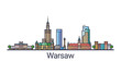 Banner of Warsaw city skyline in flat line trendy style. Warsaw city line art. All buildings separated and customizable. - 194314026