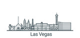 Fototapeta Forest - Linear banner of Las Vegas city. All buildings - customizable different objects with clipping mask, so you can change background and composition. Line art. © itsdesign
