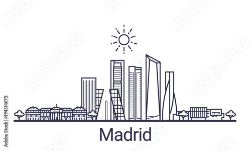 Linear banner of Madrid city. All buildings - customizable different objects with clipping mask, so you can change background and composition. Line art.