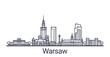 Linear banner of Warsaw city. All buildings - customizable different objects with clipping mask, so you can change background and composition. Line art. - 194315005