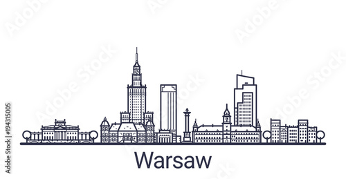 Fototapeta Linear banner of Warsaw city. All buildings - customizable different objects with clipping mask, so you can change background and composition. Line art.