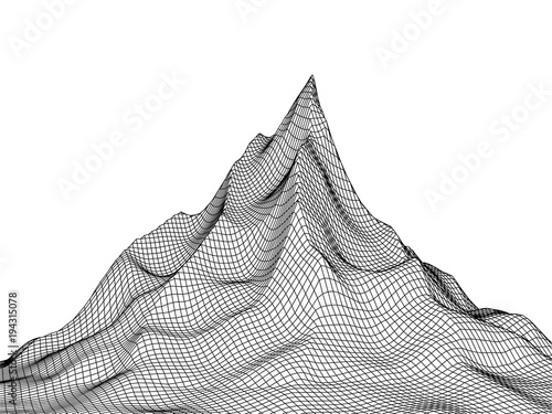 Deurstickers Wit Abstract landscape high peak background. 3D terrain grid isolated.