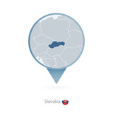 Map pin with detailed map of Slovakia and neighboring countries.