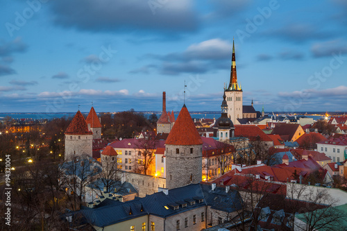Old castle of Tallinn. Beautiful cityscape at the night with city lights