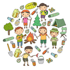 Camping. Summer vacation. Boys and girls. Kindergarten children. School students. Young scouts. Wood. Forest. Fire. Adventure and exploration.